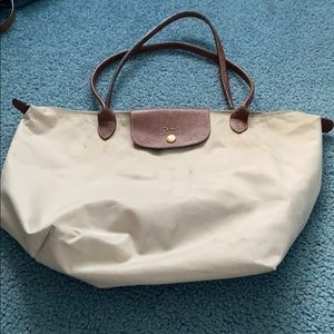 Beige Large Long Champ Le Pliage Tote